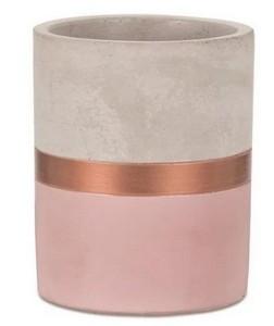 Vaso Decorativo Rosa E cobre Em Cimento 10x8,5Cm