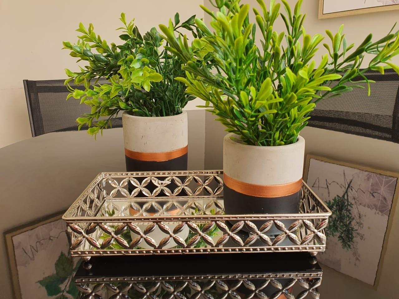 Vaso Decorativo Preto E cobre Em Cimento 10x8,5Cm