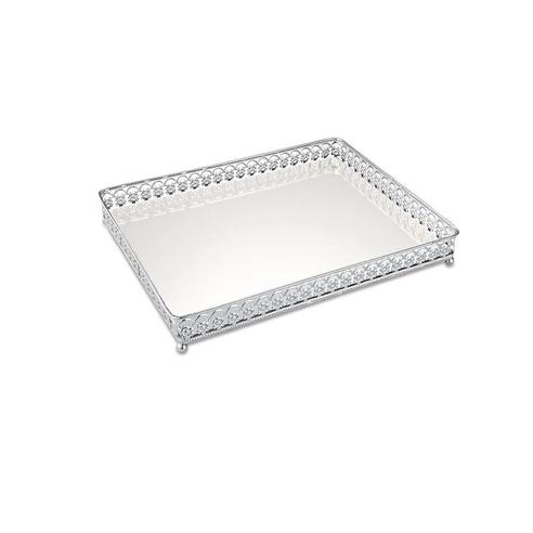 Bandeja Prata Em Metal Com Espelho  4 x 30,5 x 23,5 cm