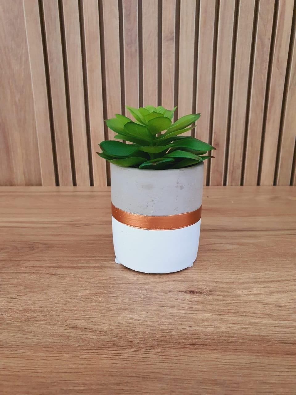Vaso Decorativo Branco E Cobre Em Cimento 9x7,5Cm