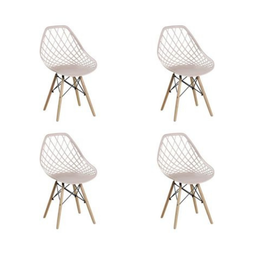 Conjunto com 4 Cadeiras Cloe Nude