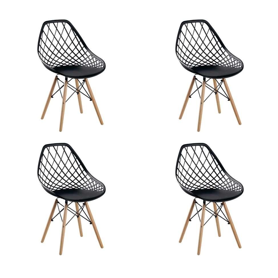 Conjunto com 4 Cadeiras Cloe Preta
