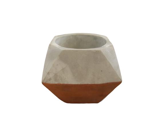 Vaso Decorativo Cimento E Cobre